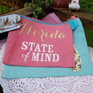 Handbags - 🌴 FLORIDA ⛱STATE OF MIND  BURLAP ZIPPER POUCH 🌴